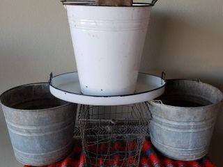 Porcelein   Galvanized Pails   Basket