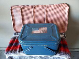 Checkered Trays   Americana Tin Basket   Doll