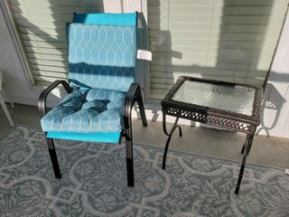 Padded Patio Chair   Glass Top Table