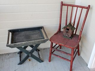 Red Wood Chair   Wood Tray with Stand