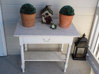 Antique Painted Table   Plants   lantern   House