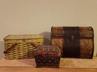 Metal Picnic Basket   Decorative Storage