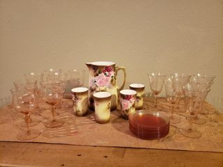Nippon Pitcher   Cups   Pink Glassware   Plates