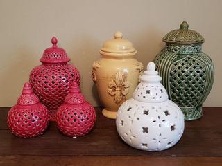 Textured Ceramic Containers with Holes