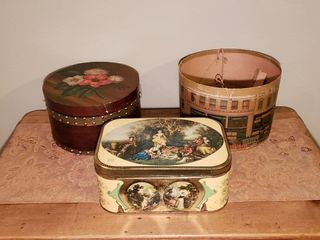 Vintage Hat Boxes   Motta Tin Container