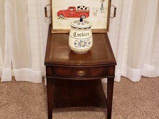 Mohogany leather Inlaid Table   Ceramic Cookie Jar