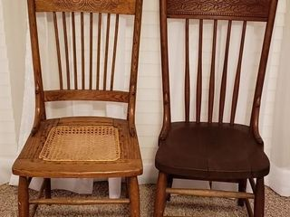 Pressed Back Chairs   Pair