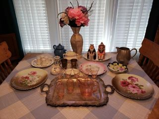 Depression Glass   Assorted Hand Painted China