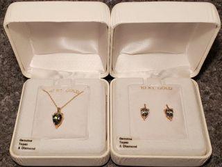 10K Gold Emerald Necklace   Earrings