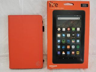 Amazon Fire Tablet  7  Display  Wi Fi  16 GB   Black With Tablet Cover