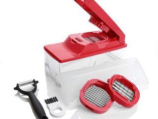 Kitchen Master Multipurpose Slicer Dicer with Peeler Tool   Red