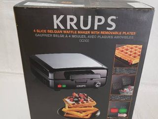 KRUPS Stainless Steel 4 Slice Belgian Waffle Maker with Removable Plates