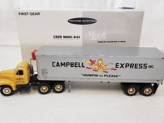 First Gear 1960 Model B 61 tandem Axle Tractor with 35ft Trailer   Model Campbells 66 Express 19 2154