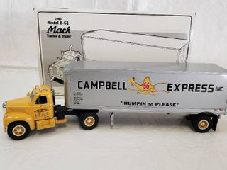First Gear 1960 Model B 61 Mack Tractor And Trailer   Model Campbells 66 Express 18 1169