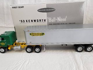 First Gear  53 Kenworth Bull Nose with Trailer Diecast   Model Garret Freightlines 19 1541