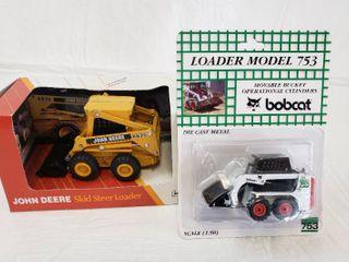 Diecast John Deere Skid Steer loader and Bobcat loader