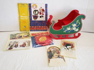 Muffy VanderBear Collection   Sleigh  Wrapping Paper  Santa Sack and  8  Christmas Cards
