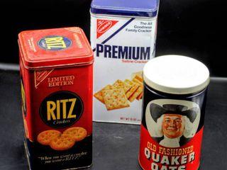 Vintage Ritz Tin  Quaker Oats Tin  and Nabisco Premium Crackers Tin