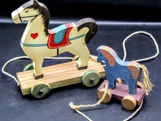 Vintage String Pull Horse Toys  Wooden Wheels 8  and 4