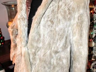 GORGEOUS Blonde Vintage 100  Rabbit Fur Womens Coat  Satin lined and Hl Embroidered   Possibly Sz  largeIJ
