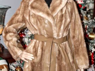 Vintage long Camel Color Faux Fur  Belt Closure with leather Detail Womens Coat By Tissavel France