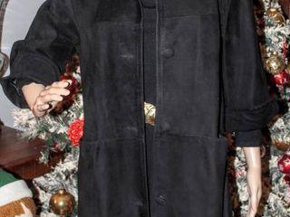 Vintage long Black Suede Women s Coat with Fur Collar Size 12