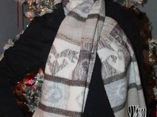 Women s Cashmink by V  Fraas Scarf Tan Gray Espresso with White Fringe