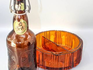 Vintage Grolsch Bottle and HEAVY Amber MidCentury Divided Ashtray 6 25  x 3  Tall