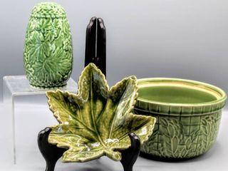3  Pieces Vintage Mid Century Green Art Pottery