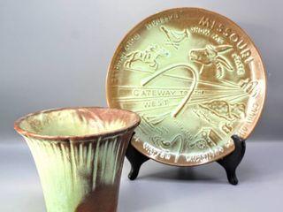 Frankoma Pottery Missouri State Plate 8  and Frankoma Pot 4 5