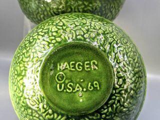 2  Vintage 1960 s Haeger USA 69 leaf Green Glazed Pottery Bowls