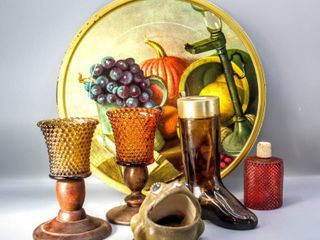 Vintage Carver Foods Tin Tray s 12  Amber Brown Glass Cologne Boot 7  Sponge Frog  Woodcraftery Heirloom Cheery Candlestick and  3  Candle Glass Holders