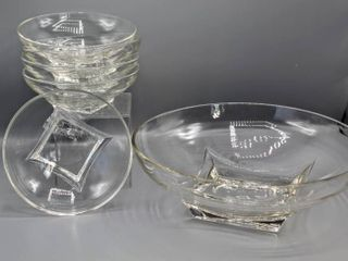 Hazel Atlas Colony Clear Glass Salad Bowl Server Set  6 pcs    Square Base Round Bowls   Vintage Mid Century Modern Design
