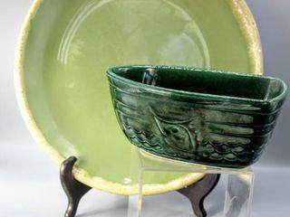 Vintage Hull USA F54 Green Pottery Boat Nautical Fish Pot Dish   Hull Pottery Green Drip Dinner Plate