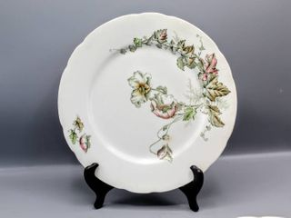 19th C  Antique Porcelain de Terre John Edwards England Wind Flower Dinner Plates Set of 4   Marked