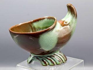 Vintage Frankoma Prairie Green Pottery Cornucopia Vase