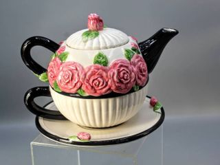 Mud Pie Individual Teapot   lid with Cup And Saucer All in One  White and Black with Raised Pink Roses