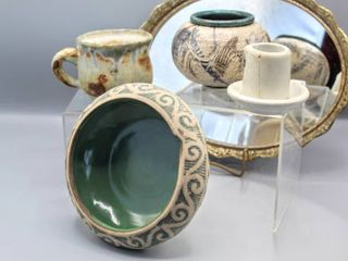 5  Pc lot of Art Pottery   2 are signed