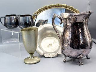 Vintage Antique leonard Silverplate Claw Foot Water Pitcher w  ice catcher  Benedict Indestructo Nickel Silverplate Goblets  Old Colonial Pewter Bowl   Empire Crafts Creamer and Sugar