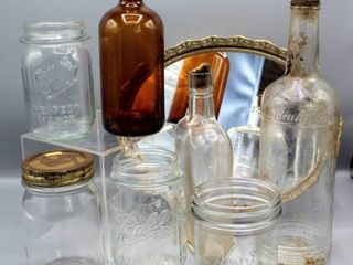 Vintage Bardenheier s One Quart liquor Bottle  Amber Duraglass Bottle  Ball Mason Jars  Kerr Jar and more
