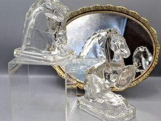 Vintage Glass Art Deco Horse Head Bookend and Vintage Glass Horse Bookend Figurine