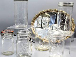 Atlas E Z Seal Jar w  Glass lid   Wire Bail  Canning Jar with Wire Bail Marked K 1877  Ball Refrigerator   Freezer Jars    6  pc lot