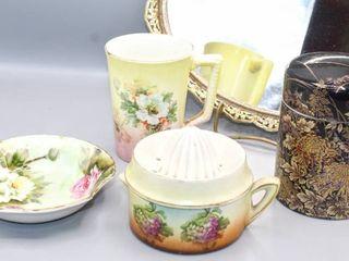 Vintage Toyo Japan Black Gold Floral lidded Urn Vase  lefton China Bowl  Porcelain China Hand Juicer and Coffee Tea Cup