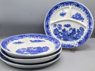 Set of 4 Blue Willow Divided Plates Made in Japan