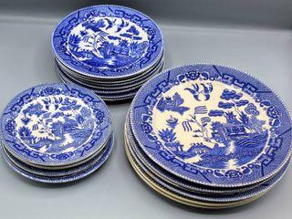 Blue Willow Ware By Royal China  Underglaze 20 Piece Set