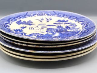 6  Vintage Blue Willow China Dinner Plates Made in Japan