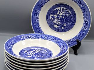8 Pc Vintage Blue Willow China Bowls