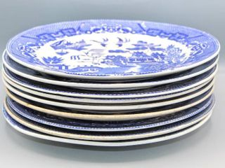 9 Pc Vintage Blue Willow China Dinner Plates Made in Japan
