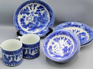 12 Pc Vintage Blue Willow Plates  Bowls  Mugs   Made in Japan