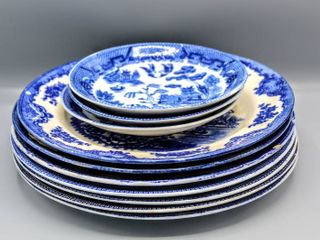 10 Pc Vintage Willow Royal Venton Ware John Steventon  7  Plates   Vintage Blue Willow China  3  Bowls Made in Occupied Japan